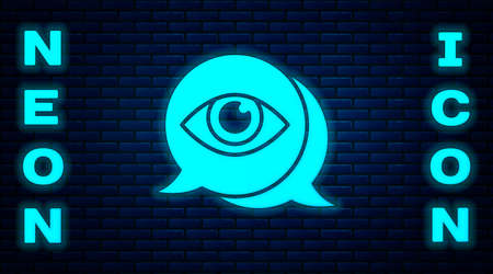 Glowing neon Eye scan icon isolated on brick wall background. Scanning eye. Security check symbol. Cyber eye sign. Vector Ilustrace