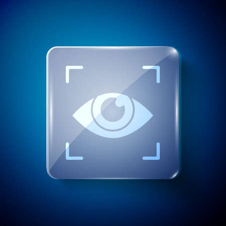 White Eye scan icon isolated on blue background. Scanning eye. Security check symbol. Cyber eye sign. Square glass panels. Vector Ilustrace