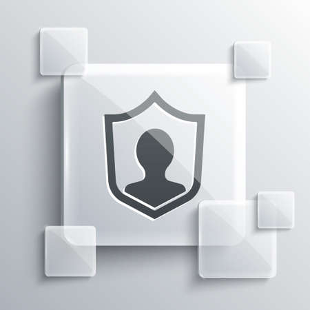 Grey User protection icon isolated on grey background. Secure user login, password protected, personal data protection, authentication. Square glass panels. Vector