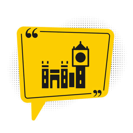 Black Big Ben tower icon isolated on white background. Symbol of London and United Kingdom. Yellow speech bubble symbol. Vector