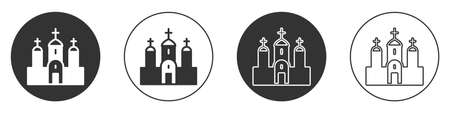 Black Church building icon isolated on white background. Christian Church. Religion of church. Circle button. Vector  イラスト・ベクター素材