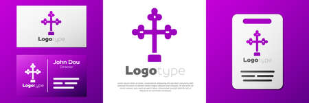 Logotype Christian cross icon isolated on white background. Church cross. Logo design template element. Vector