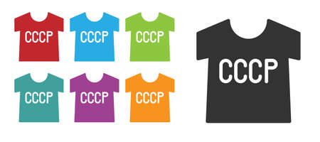 Black USSR t-shirt icon isolated on white background. Set icons colorful. Vector 向量圖像