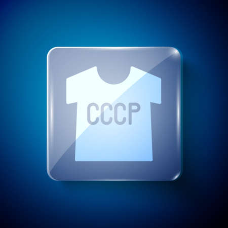 White USSR t-shirt icon isolated on blue background. Square glass panels. Vector