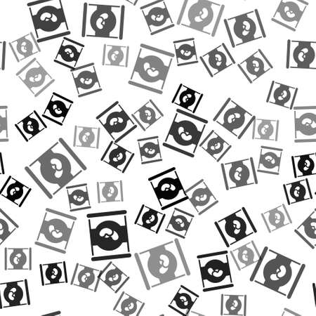 Black Beans in can icon isolated seamless pattern on white background. Vector Vettoriali