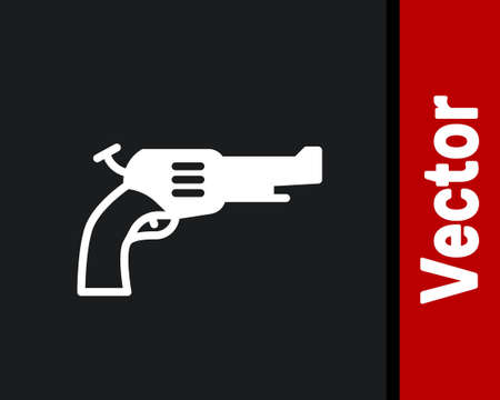 White Revolver gun icon isolated on black background. Vector