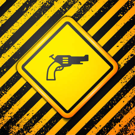 Black Revolver gun icon isolated on yellow background. Warning sign. Vector
