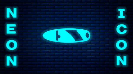 Glowing neon Cigar icon isolated on brick wall background. Vector Illusztráció