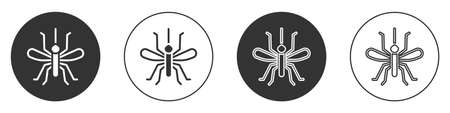 Black Mosquito icon isolated on white background. Circle button. Vector 向量圖像
