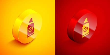 Isometric Spray against insects icon isolated on orange and red background. Circle button. Vector