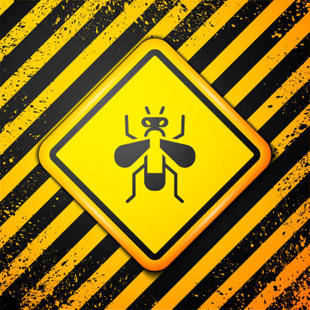 Black Insect fly icon isolated on yellow background. Warning sign. Vector