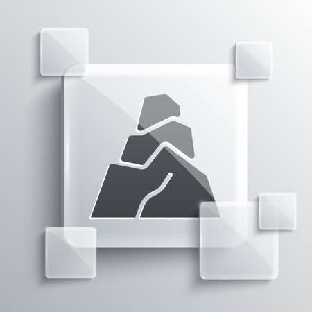 Grey Rock stones icon isolated on grey background. Square glass panels. Vector