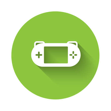 White Portable video game console icon isolated with long shadow. Gamepad sign. Gaming concept. Green circle button. Vector