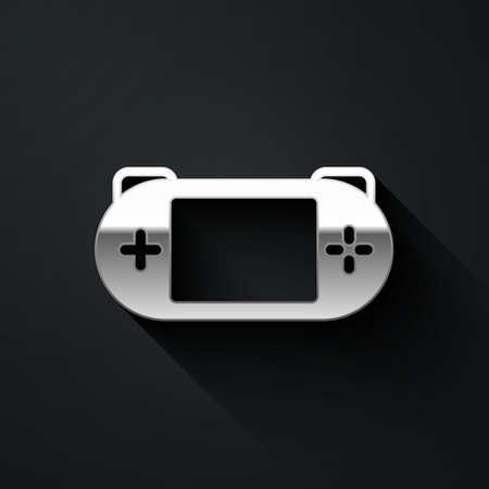 Silver Portable video game console icon isolated on black background. Gamepad sign. Gaming concept. Long shadow style. Vector 矢量图像