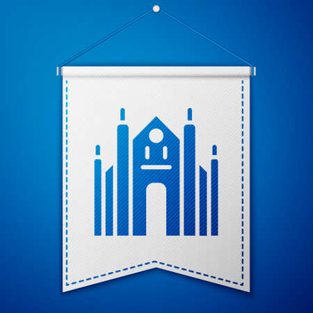 Blue Milan Cathedral or Duomo di Milano icon isolated on blue background. Famous landmark of Milan, Italy. White pennant template. Vector