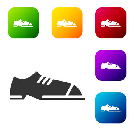 Black Men shoes icon isolated on white background. Set icons in color square buttons. Vector