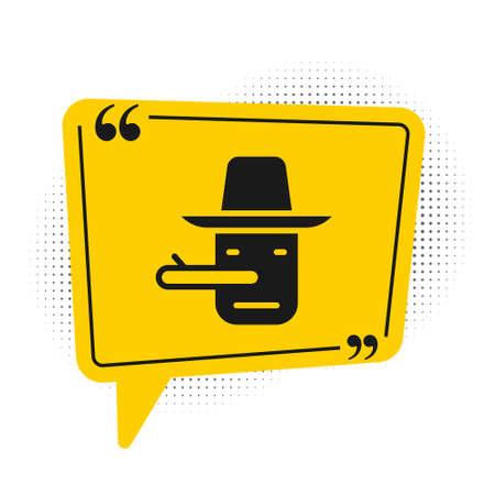 Black Pinocchio icon isolated on white background. Yellow speech bubble symbol. Vector