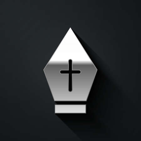 Silver Pope hat icon isolated on black background. Christian hat sign. Long shadow style. Vector  イラスト・ベクター素材