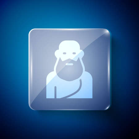 White Socrates icon isolated on blue background. Sokrat ancient greek Athenes ancient philosophy. Square glass panels. Vector Ilustracja