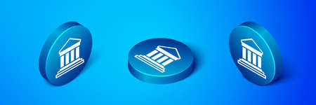Isometric Parthenon from Athens, Acropolis, Greece icon isolated on blue background. Greek ancient national landmark. Blue circle button. Vector