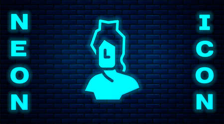 Glowing neon Ancient bust sculpture icon isolated on brick wall background. Vector