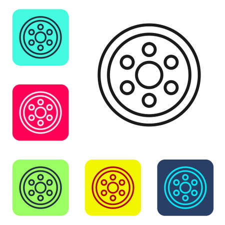 Black line Alloy wheel for a car icon isolated on white background. Set icons in color square buttons. Vector Illustration