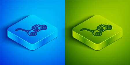 Isometric line Lawn mower icon isolated on blue and green background. Lawn mower cutting grass. Square button. Vector Illustration
