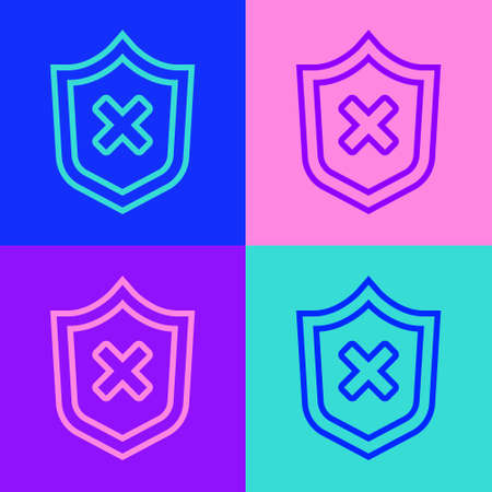 Pop art line Shield with cross mark icon isolated on color background. Shield and rejected. Notice of refusal. Vector
