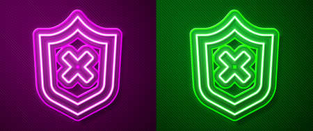 Glowing neon line Shield with cross mark icon isolated on purple and green background. Shield and rejected. Notice of refusal. Vector