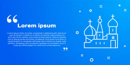 White line Moscow symbol - Saint Basil s Cathedral, Russia icon isolated on blue background. Vector Vektoros illusztráció