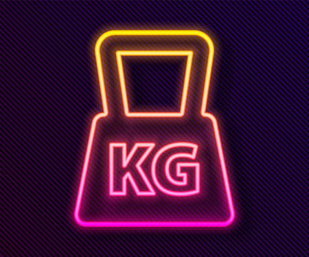 Glowing neon line Weight icon isolated on black background. Kilogram weight block for weight lifting and scale. Mass symbol. Vector 일러스트