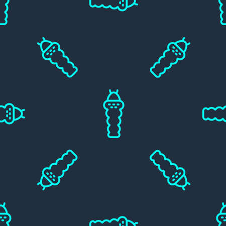 Green line Larva insect icon isolated seamless pattern on blue background. Vector Illustration