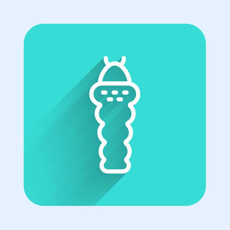 White line Larva insect icon isolated with long shadow. Green square button. Vector Illustration