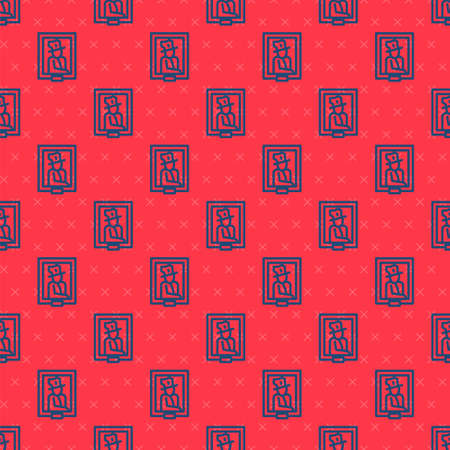 Blue line Portrait picture in museum icon isolated seamless pattern on red background. Vector