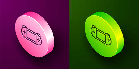 Isometric line Portable video game console icon isolated on purple and green background. Gamepad sign. Gaming concept. Circle button. Vector