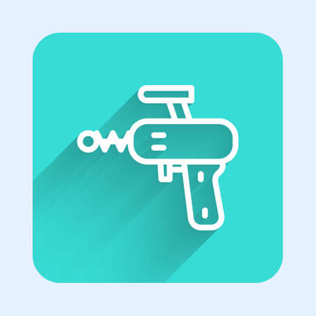 White line Ray gun icon isolated with long shadow. Laser weapon. Space blaster. Green square button. Vector Ilustrace