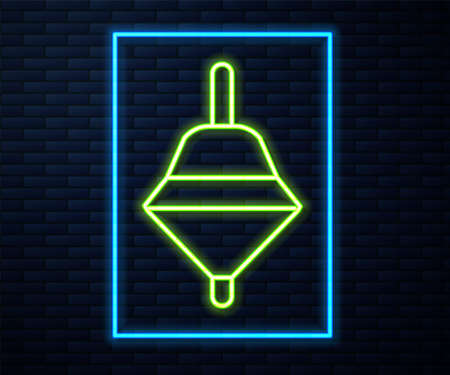 Glowing neon line Whirligig toy icon isolated on brick wall background. Vector