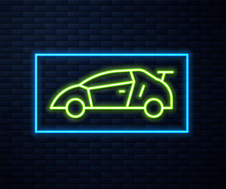 Glowing neon line Sport racing car icon isolated on brick wall background. Vector
