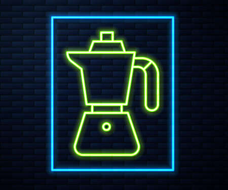 Glowing neon line Coffee maker moca pot icon isolated on brick wall background. Vector Ilustrace