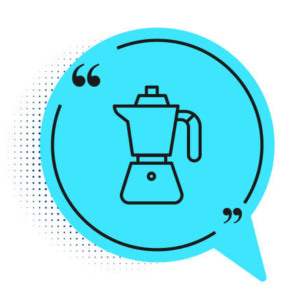 Black line Coffee maker moca pot icon isolated on white background. Blue speech bubble symbol. Vector