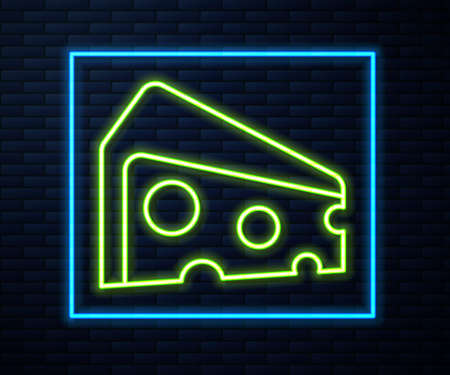 Glowing neon line Cheese icon isolated on brick wall background. Vector