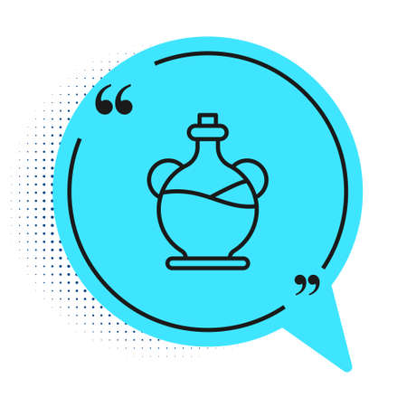Black line Bottle of olive oil icon isolated on white background. Jug with olive oil icon. Blue speech bubble symbol. Vector