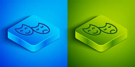 Isometric line Comedy and tragedy theatrical masks icon isolated on blue and green background. Square button. Vector