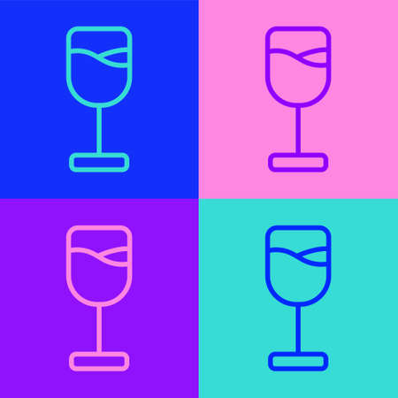 Pop art line Wine glass icon isolated on color background. Wineglass icon. Goblet symbol. Glassware sign. Happy Easter. Vector Ilustrace