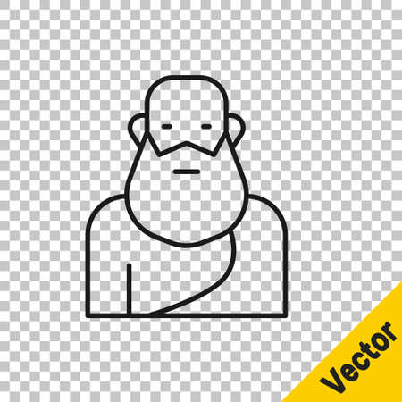 Black line Socrates icon isolated on transparent background. Sokrat ancient greek Athenes ancient philosophy. Vector