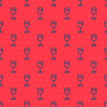 Blue line Wine glass icon isolated seamless pattern on red background. Wineglass icon. Goblet symbol. Glassware sign. Happy Easter. Vector