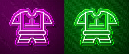 Glowing neon line Body armor icon isolated on purple and green background. Vector