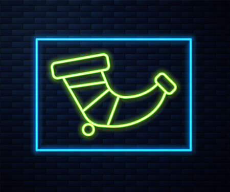 Glowing neon line Hunting horn icon isolated on brick wall background. Vector Ilustrace