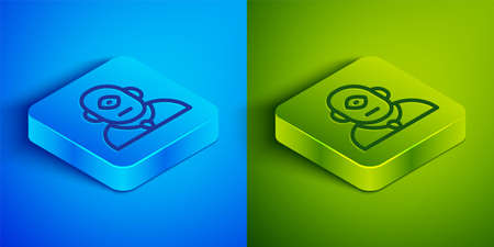 Isometric line Cyclops icon isolated on blue and green background. Square button. Vector