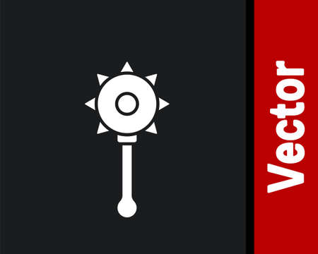 White Medieval chained mace ball icon isolated on black background. Medieval weapon. Vector